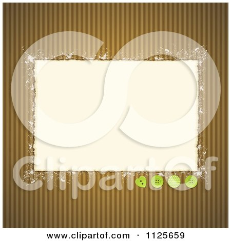 Clipart Of Torn Paper With Green Buttons On Corrugated Cardboard - Royalty Free Vector Illustration by elaineitalia