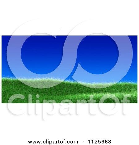 Clipart Of A 3d Grassy Burm Hill Against A Deep Blue Sky - Royalty Free CGI Illustration by chrisroll