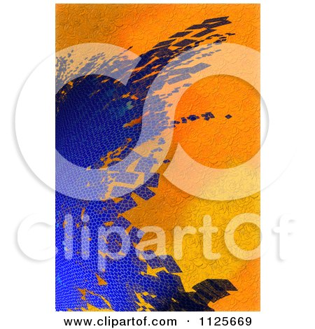 Clipart Of An Abstract Background Of Blue Hexagon Tiles On Orange Roses - Royalty Free CGI Illustration by chrisroll