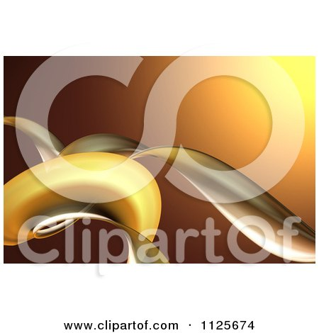 Clipart Of A 3d Background Of Golden Tendrils - Royalty Free CGI Illustration by chrisroll