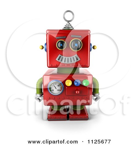 Clipart Of A 3d Happy Red Robot Smiling - Royalty Free CGI Illustration by stockillustrations