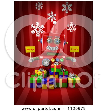 Clipart Of A 3d Red Robot Holding Merry X Mas Signs Over Gift Boxes On Red With Snowflakes - Royalty Free CGI Illustration by stockillustrations