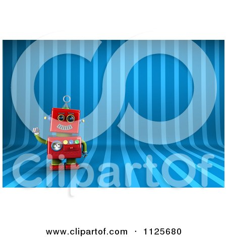 Clipart Of A 3d Friendly Red Robot Waving Over Blue Stripes - Royalty Free CGI Illustration by stockillustrations