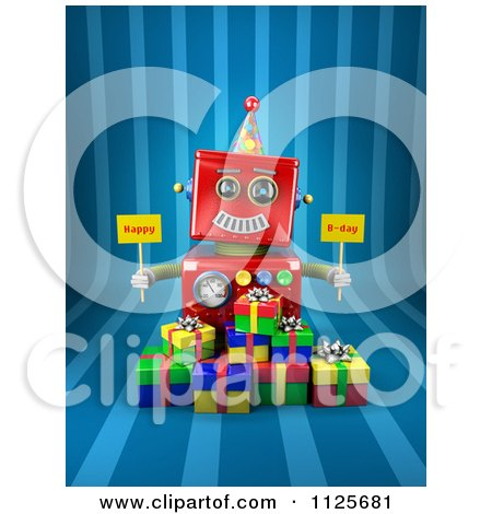 Clipart Of A 3d Red Robot Holding Happy Bday Signs Over Gift Boxes On Blue Stripes - Royalty Free CGI Illustration by stockillustrations