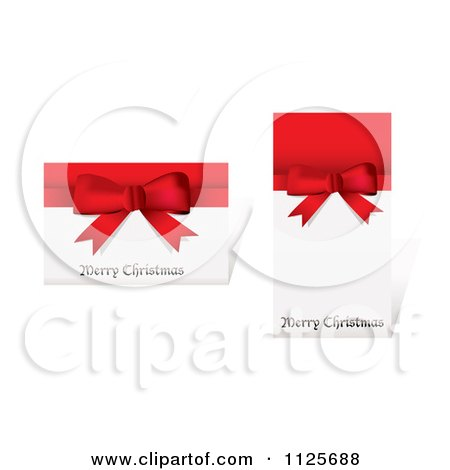 Clipart Of Merry Christmas Greetings On Cards With Red Ribbons And Bows - Royalty Free Vector Illustration by michaeltravers