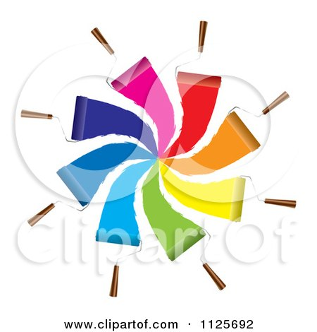 Clipart Of Roller Paint Brushs Forming A Spiral Of Different Colors - Royalty Free Vector Illustration by michaeltravers
