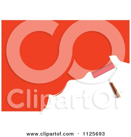 Clipart Of A Roller Paint Brush With Red Paint On White - Royalty Free Vector Illustration by michaeltravers