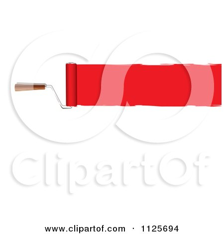 Clipart Of A Roller Paint Brush With A Line Of Red Paint On White - Royalty Free Vector Illustration by michaeltravers