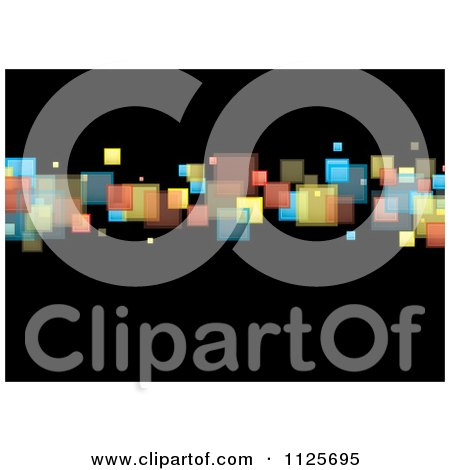 Clipart Of A Background Of Colorful Squares On Black 2 - Royalty Free Vector Illustration by michaeltravers