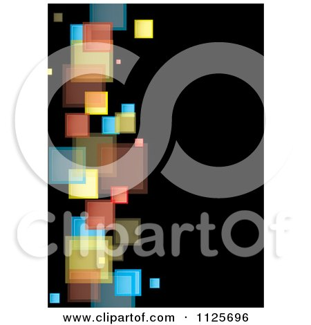 Clipart Of A Background Of Colorful Squares On Black 3 - Royalty Free Vector Illustration by michaeltravers
