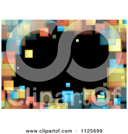 Clipart Of A Background Of A Border Of Colorful Squares On Black - Royalty Free Vector Illustration by michaeltravers