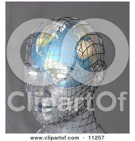 Futuristic Human Head With a Globe Inside the Brain Clipart Illustration by AtStockIllustration