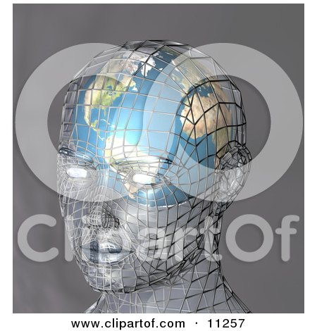 Futuristic Human Head With a Globe Inside the Brain Posters, Art Prints