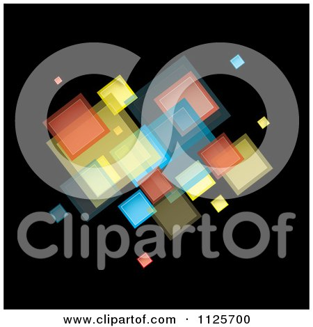 Clipart Of A Background Of Colorful Squares On Black 1 - Royalty Free Vector Illustration by michaeltravers