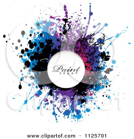 Clipart Of A Colorful Paint Splatter On White With Sample Text - Royalty Free Vector Illustration by michaeltravers