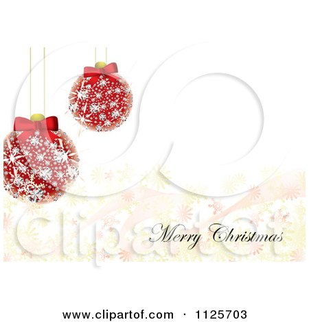 Clipart Of A Merry Christmas Greeting With Diamond Baubles And Snowflakes - Royalty Free Vector Illustration by michaeltravers