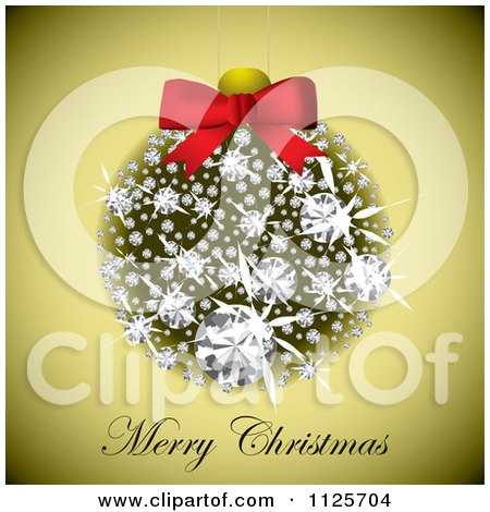 Clipart Of A Merry Christmas Greeting Under A Diamond Bauble On Gold - Royalty Free Vector Illustration by michaeltravers