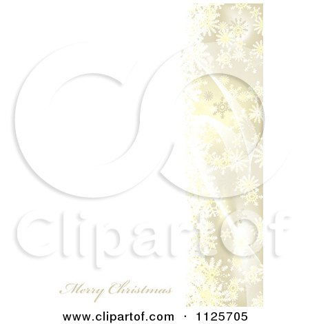 Clipart Of A Merry Christmas Greeting With Snowflakes And Mesh Waves On Gold And White - Royalty Free Vector Illustration by michaeltravers
