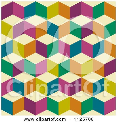 Clipart Of A Seamless Colorful Cube Background Pattern - Royalty Free Vector Illustration by michaeltravers
