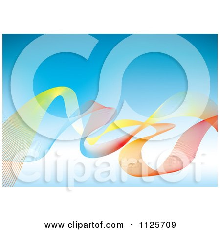 Clipart Of A Background Of Colorful Mesh Rainbow Waves Over Blue - Royalty Free Vector Illustration by michaeltravers