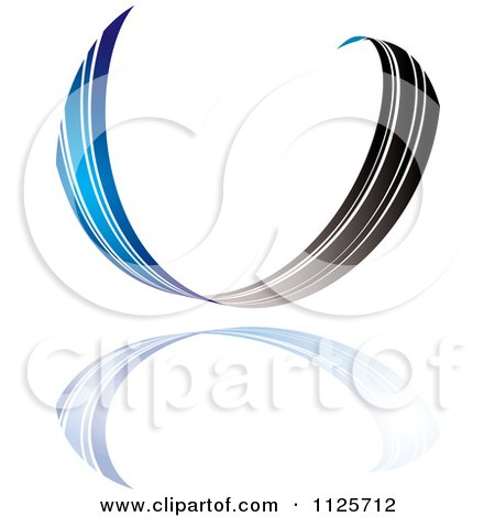 Clipart Of A Blue And Black Ribbon Wave And Reflection - Royalty Free Vector Illustration by michaeltravers