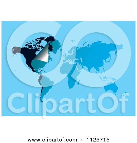 Clipart Of A Peeling Corner On A Blue And Black World Map - Royalty Free Vector Illustration by michaeltravers