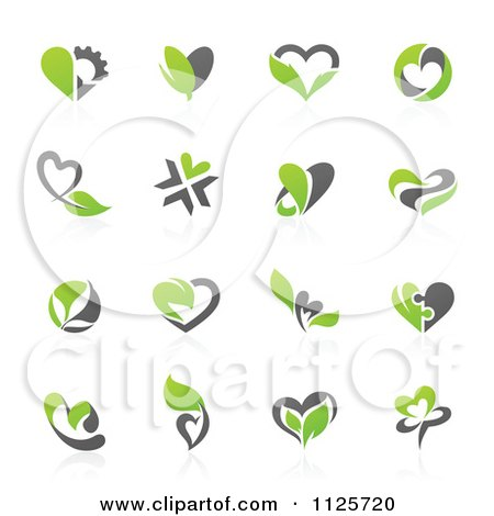 Clipart Of Green And Gray Organic Heart Love Icons With Reflections - Royalty Free Vector Illustration by elena
