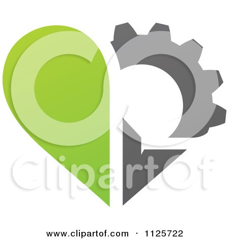 Clipart Of A Green And Gray Organic Heart And Gear Or Flower - Royalty Free Vector Illustration by elena