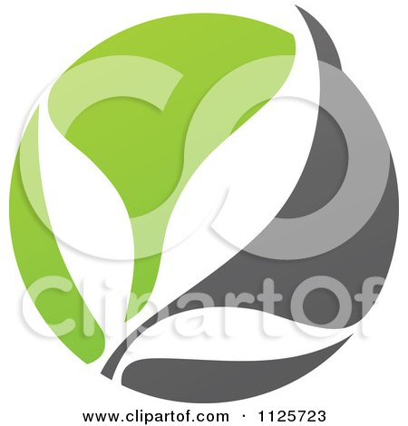 Clipart Of A Green And Gray Organic Leaves - Royalty Free Vector Illustration by elena