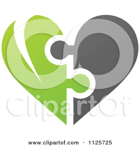 Clipart Of A Green And Gray Organic Heart Puzzle - Royalty Free Vector Illustration by elena