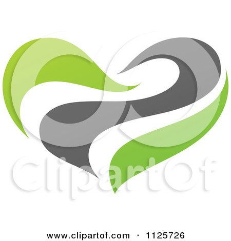 Clipart Of A Green And Gray Organic Heart 2 - Royalty Free Vector Illustration by elena