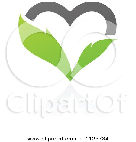 Clipart Of A Green And Gray Organic Leaf Heart With A Reflection - Royalty Free Vector Illustration by elena