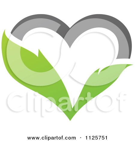 Clipart Of A Green And Gray Organic Leaf Heart - Royalty Free Vector Illustration by elena