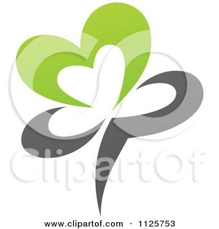 Clipart Of A Green And Gray Organic Heart Flower - Royalty Free Vector Illustration by elena