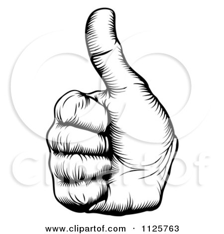 Clipart Of A Black And White Woodcut Thumb Up Hand - Royalty Free Vector Illustration by AtStockIllustration