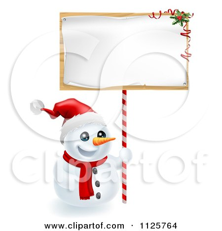 Clipart Of A Happy Snowman Wearing A Santa Hat And Holding A Christmas Sign - Royalty Free Vector Illustration by AtStockIllustration