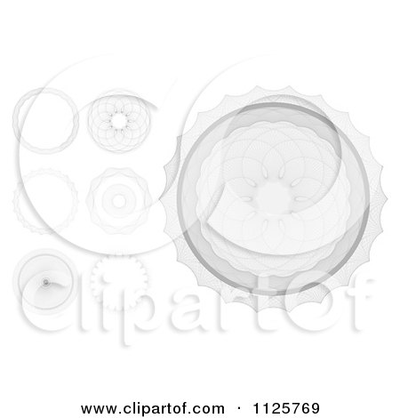 Clipart Of A Grayscale Security Banknote And Certificate Guilloche Designs - Royalty Free Vector Illustration by AtStockIllustration