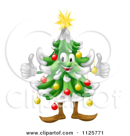 ... Tree Mascot Holding Two Thumbs Up - Royalty Free Vector Illustration