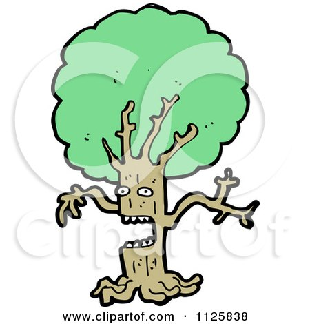 Cartoon Of An Ent Tree With Green Foliage 4 - Royalty Free Vector Clipart by lineartestpilot