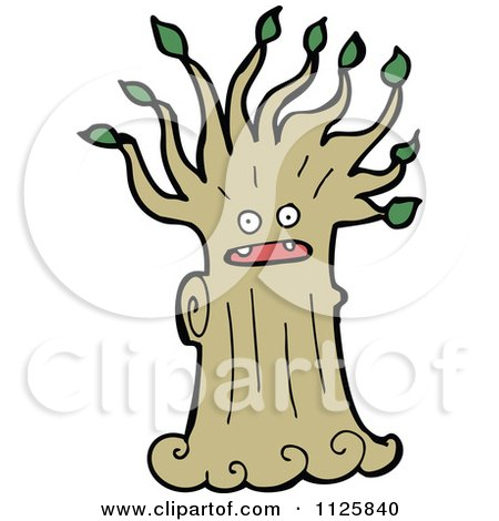 Cartoon Of An Ent Tree With Green Foliage 2 - Royalty Free Vector Clipart by lineartestpilot