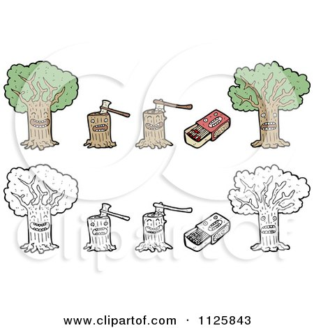 Cartoon Of Trees Stumps And Matches - Royalty Free Vector Clipart by lineartestpilot
