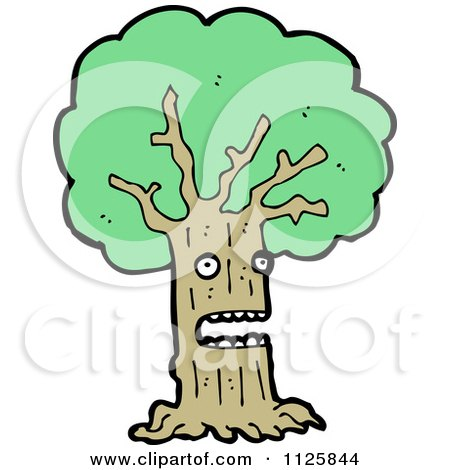 Cartoon Of An Ent Tree With Green Foliage 5 - Royalty Free Vector Clipart by lineartestpilot