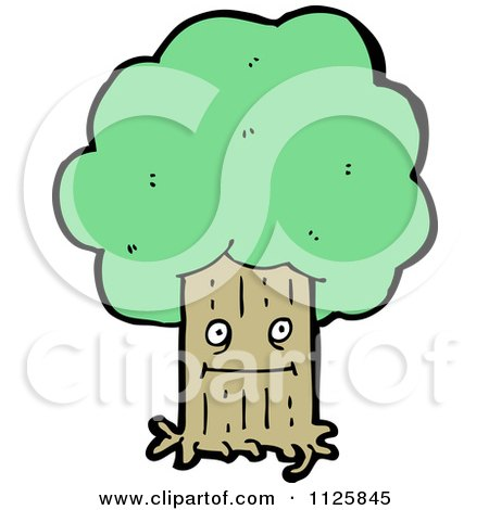 Cartoon Of An Ent Tree With Green Foliage 6 - Royalty Free Vector Clipart by lineartestpilot