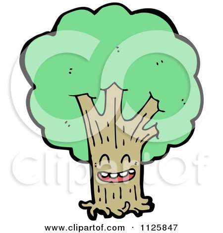 Cartoon Of An Ent Tree With Green Foliage 7 - Royalty Free Vector Clipart by lineartestpilot