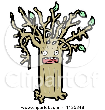 Cartoon Of An Ent Tree With Green Foliage 12 - Royalty Free Vector Clipart by lineartestpilot