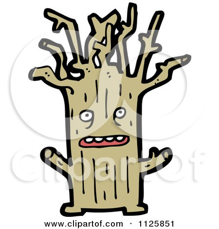 Cartoon Of An Ent Tree 3 - Royalty Free Vector Clipart by lineartestpilot