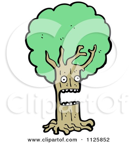 Cartoon Of An Ent Tree With Green Foliage 8 - Royalty Free Vector Clipart by lineartestpilot