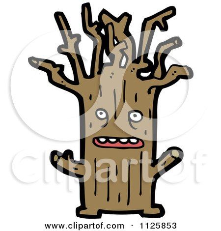 Cartoon Of An Ent Tree 6 - Royalty Free Vector Clipart by lineartestpilot