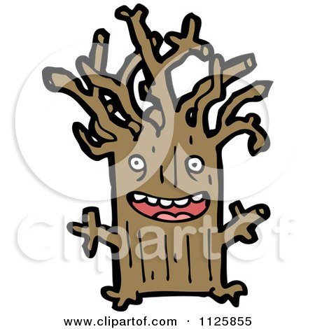 Cartoon Of An Ent Tree 5 - Royalty Free Vector Clipart by lineartestpilot
