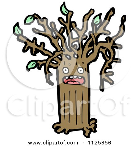 Cartoon Of An Ent Tree With Green Foliage 13 - Royalty Free Vector Clipart by lineartestpilot